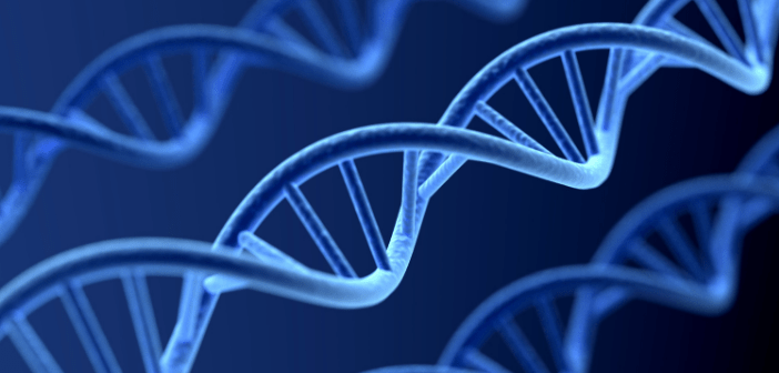 This is an image of a blue DNA helix.