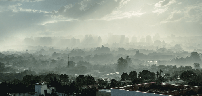This is an image illustrating air pollution and air quality as seen by the smog.