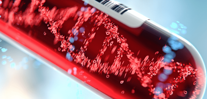 This is an image of a DNA molecule within a test tube in the colour red.
