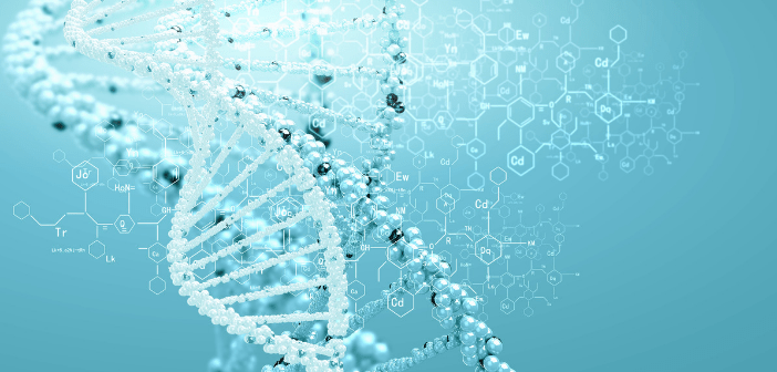 This is an image of a DNA helix alongside chemical structures on a light blue background.
