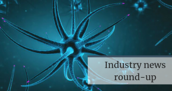This is an image of a turqoise neuron with the text 'Industry news round-up' on it for a feature on Neuro Central about elenbecestat.