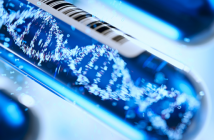 This is an image of a molecule of DNA forming inside a test tube in the colour blue.