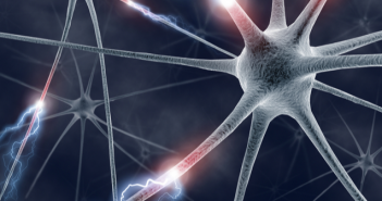 This is an image featuring neurons in the background that are firing electrical signals.