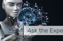 """This is an image of a robot holding an abstract brain with the text """"Ask the Experts"""" overlayed."""