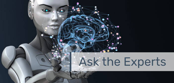 "This is an image of a robot holding an abstract brain with the text ""Ask the Experts"" overlayed."